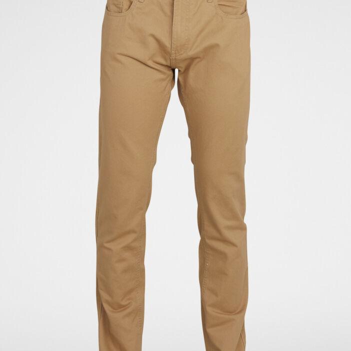 Pantalon droit coton uni homme beige