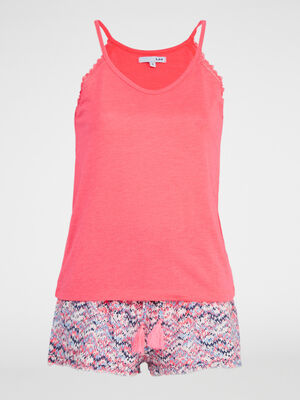 Ensemble pyjama 2 pieces rose fluo femme