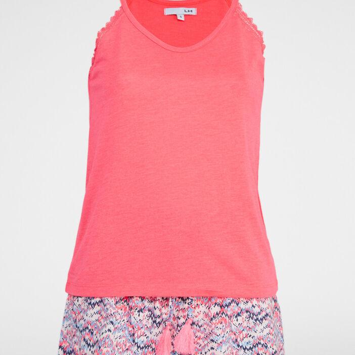 Ensemble pyjama 2 pièces femme rose fluo