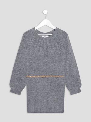 Robe pull droite ceinturee gris fonce fille