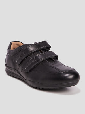 Chaussures sneakers en cuir a scratchs noir homme