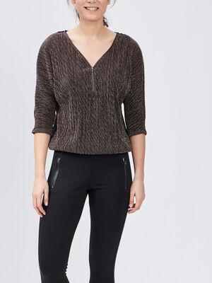 T shirt manches 34 couleur cuivre femme