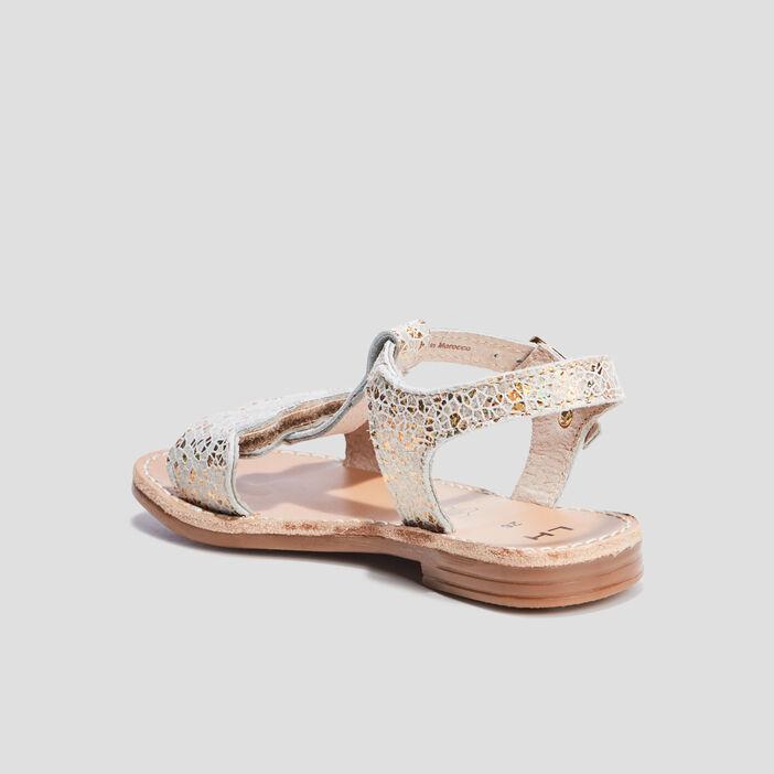 Sandales en cuir fille couleur or