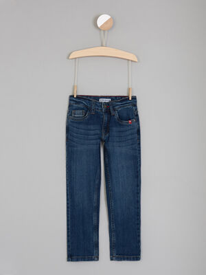 Jean brut coupe regular revers denim stone garcon