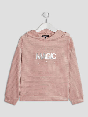Sweat a capuche Liberto rose fille