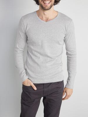 T shirt manches longues gris homme