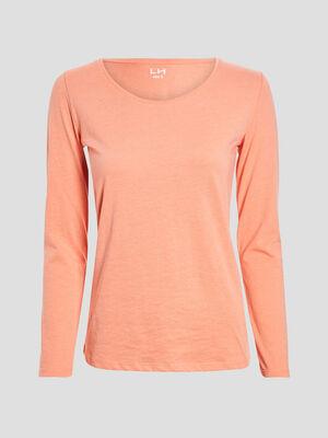 T shirt manches longues orange corail femme