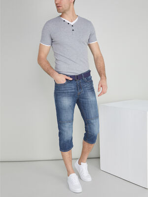 Bermuda jean et ceinture textile denim stone homme