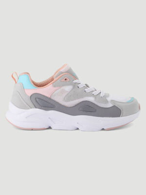 Runnings a lacets multicolores gris femme