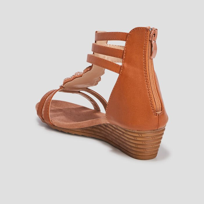 Sandales compensées femme marron