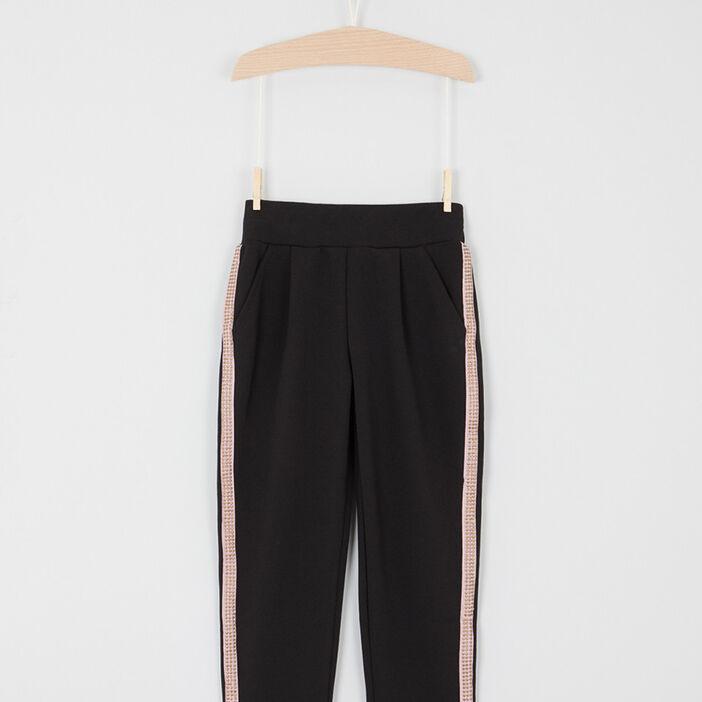 Pantalon cigarette bandes latérales fille noir