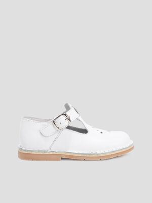 Chaussure de ville a boucle blanc fille