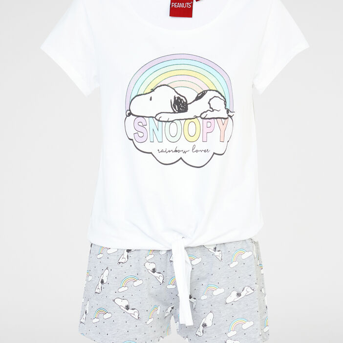 Pyjama en coton Snoopy femme blanc