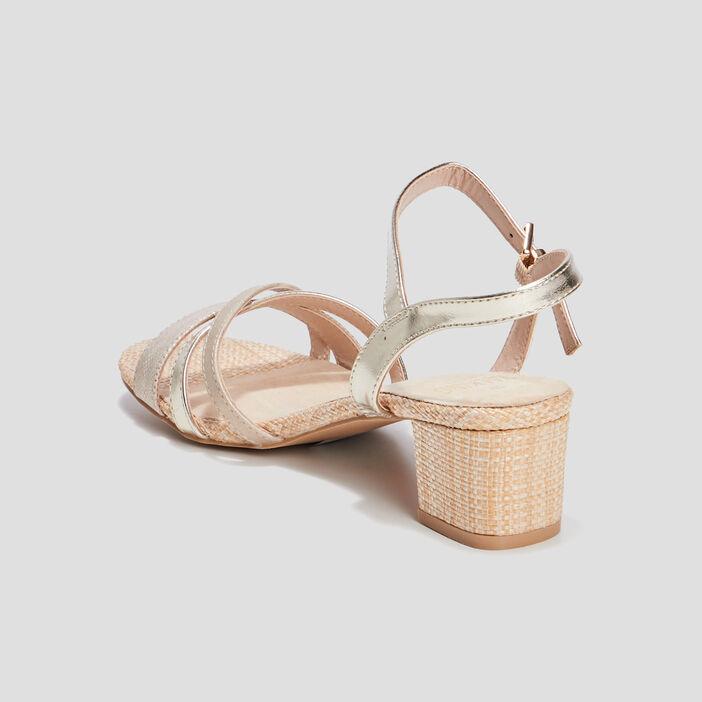 Sandales à talons femme couleur or