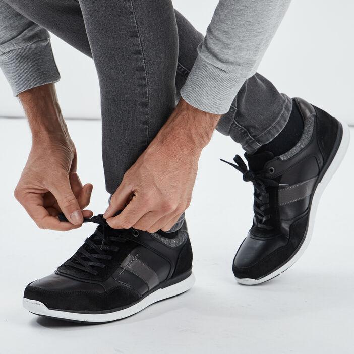 Sneakers en cuir Creeks homme noir