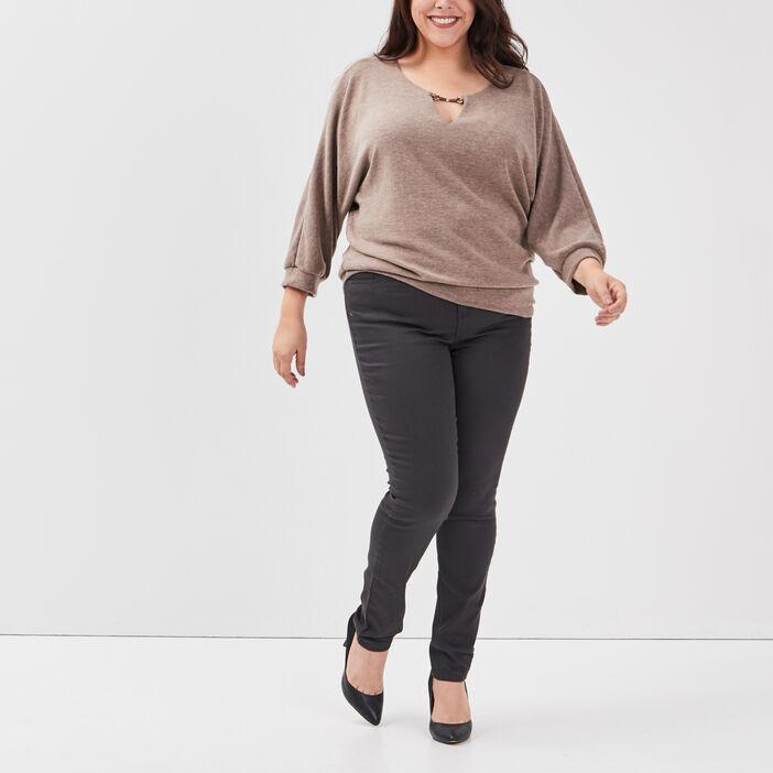 Pantalon slim grande taille femme grande taille gris foncé
