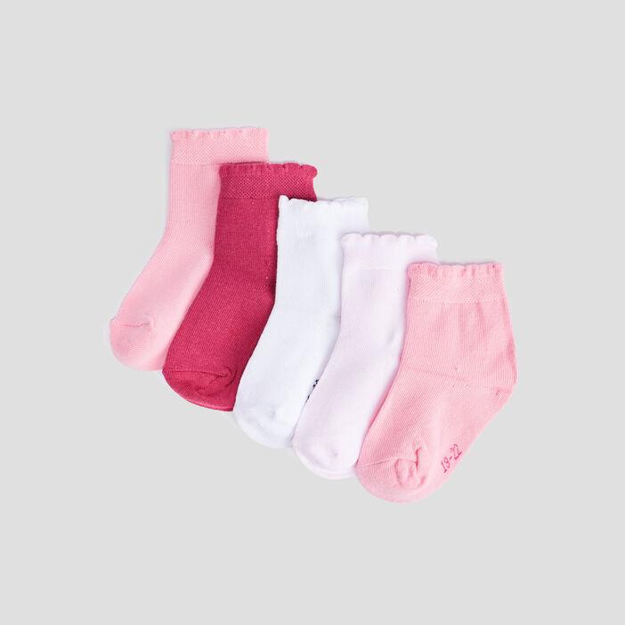 Lot 5 paires chaussettes bébé fille multicolore