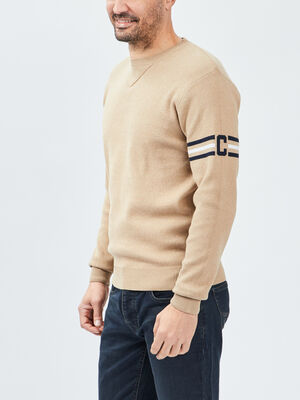 Pull a col rond Creeks beige homme