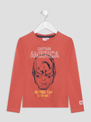 T shirt Captain America orange garcon