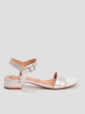Sandales irisees a talons couleur argent femme