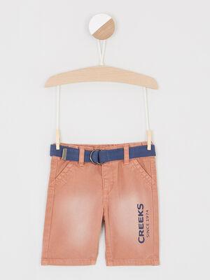Bermuda effet vieilli ceinture textile orange fonce bebeg