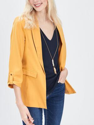 Veste droite manches 34 jaune moutarde femme