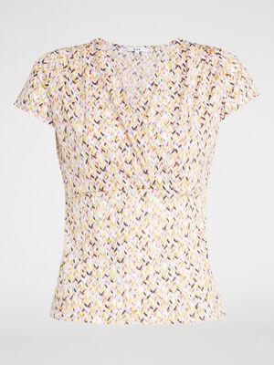 T shirt imprime decollete cache coeur multicolore femme