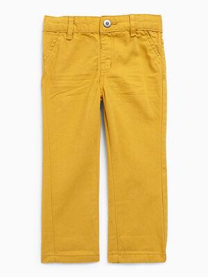 Pantalon uni forme chino jaune moutarde garcon