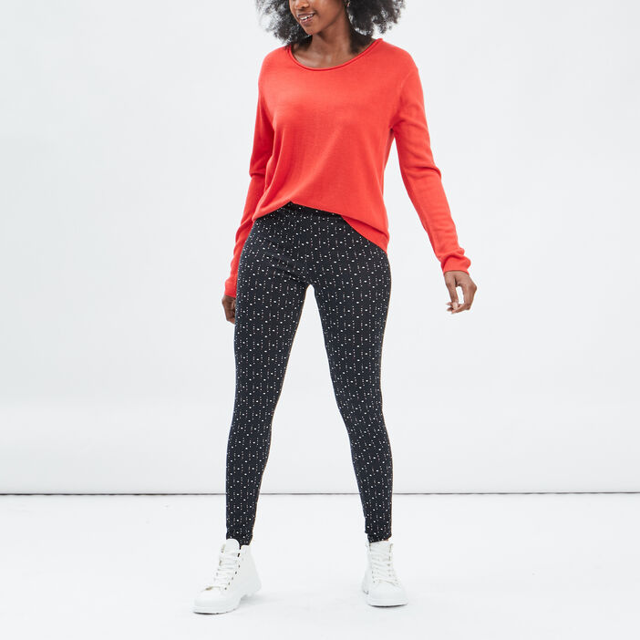 Pull avec col rond femme rouge