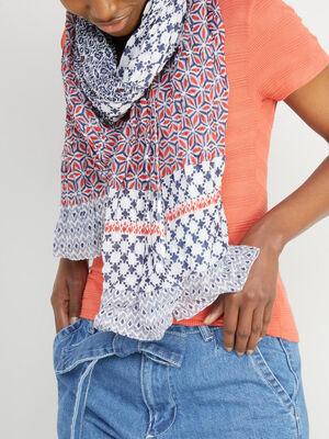 Foulard en coton imprime multicolore mixte