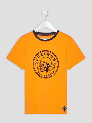 T shirt Freegun orange garcon