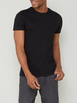 T shirt col rond uni noir homme