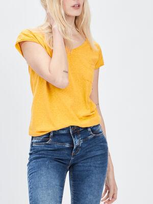 T shirt manches courtes Creeks jaune femme