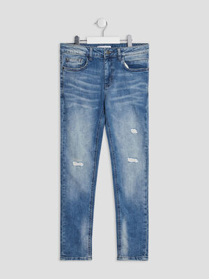 Jeans straight destroy Creeks denim double stone garcon