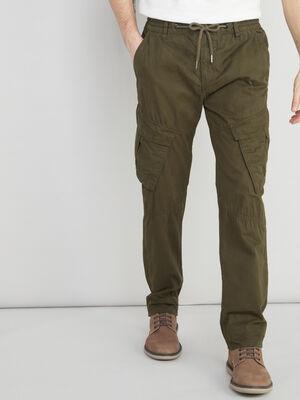 Pantalon coton uni esprit battle vert kaki homme