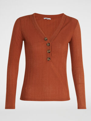 T shirt manches longues maille fantaisie orange fonce femme