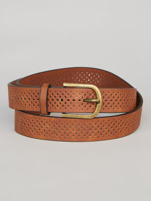 Ceinture decorations ajourees camel mixte