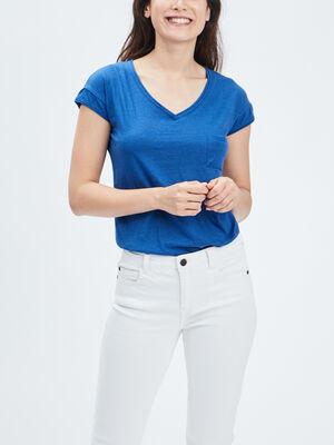 T shirt manches courtes Creeks bleu roi femme
