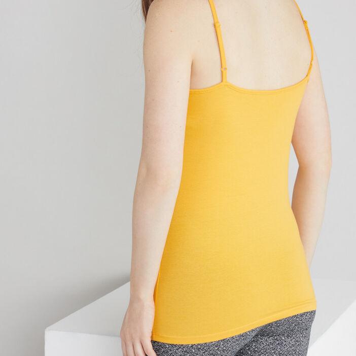 Débardeur bretelles fines femme jaune