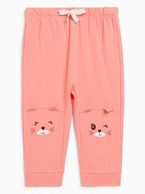 Pantalon broderies et details 3D rose fille