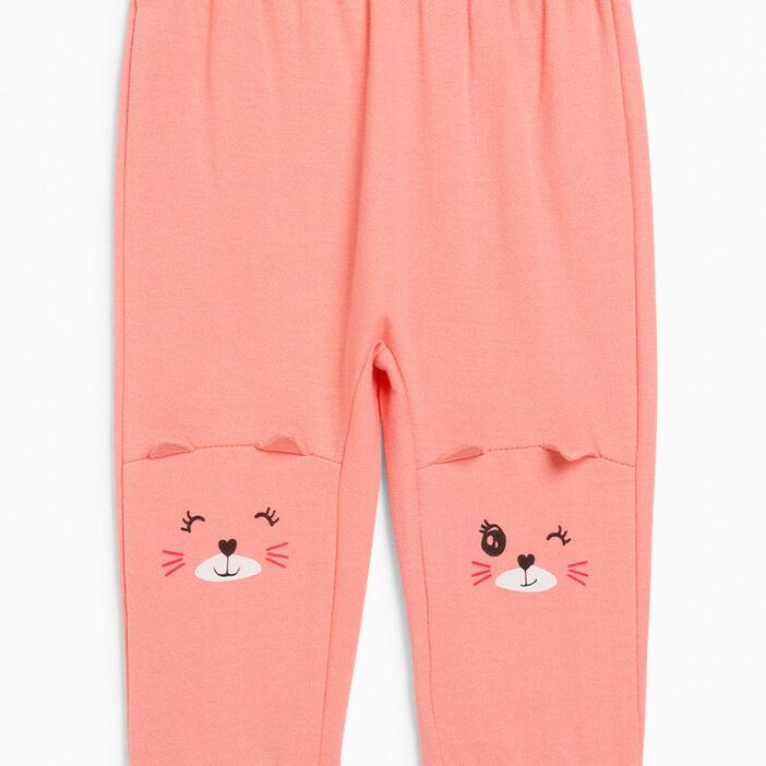 Pantalon broderies et détails 3D fille rose
