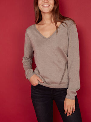 Pull irise a bandes ajourees taupe femme
