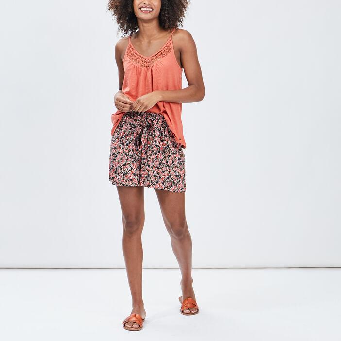 Débardeur bretelles fines femme rose corail