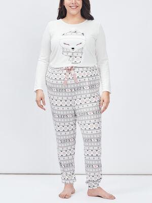 Ensemble pyjama grande taille ecru femmegt