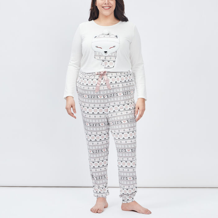 Ensemble pyjama grande taille femme grande taille ecru