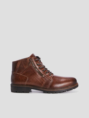Bottines zippees en cuir marron homme