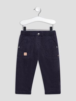 Pantalon droit taille elastiquee bleu marine bebeg