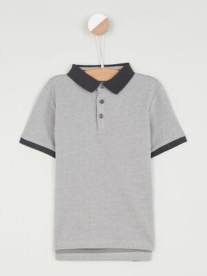 Polo manches courtes en coton gris garcon