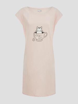 Chemise de nuit 100 coton rose clair femme