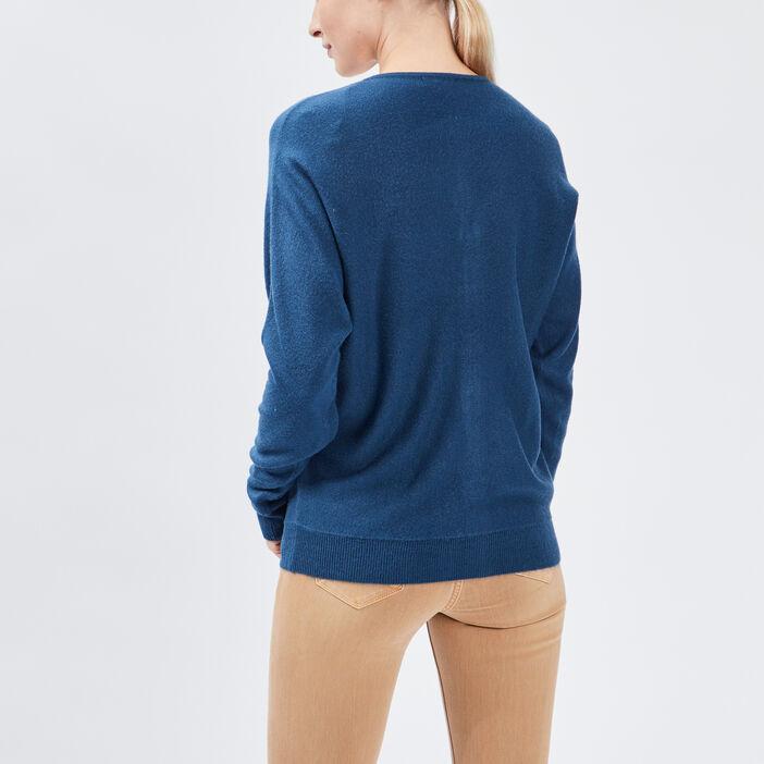 Gilet manches longues zippé femme bleu canard